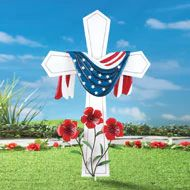 Hand-painted white metal cross stake is draped with a patriotic bunting and accented with red flowers at the base. Stake can be anchored in the ground Patriotic Bunting, Patriotic Party, Patriotic Decorations, Christmas Snowman, Christmas Lights, Outdoor Fun, Outdoor Decor, 4th Of July Celebration, Collections Etc