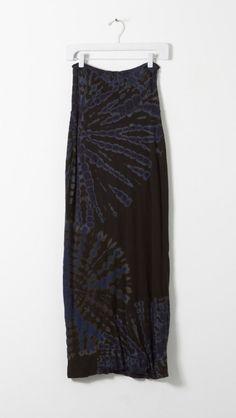 Raquel Allegra Double Layer Maxi Skirt in Black & Blue Tie Dye | The Dreslyn