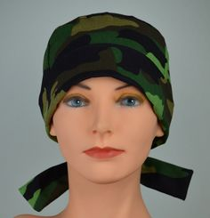 LARGE Surgical Scrub Cap - Perfect Fit Tie Back with FABRIC TIES - Camouflage