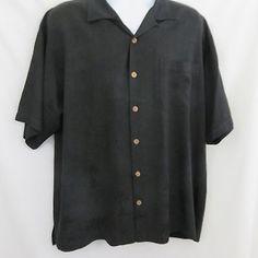 5038cf6e0be2 Tommy Bahama XL Black on Black Palm Trees Washable Silk Hawaiian Shirt Aloha  EUC