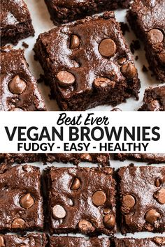 Thick, fudgy vegan brownies that taste decadently chocolaty but use simple, healthy ingredients. Made without eggs or butter. Even non-vegans love these! Brownie Recipe Without Eggs, Brownies Without Butter, Best Brownie Recipe, Brownie Recipes, Fudgy Vegan Brownies, Healthy Brownies, Healthy Vegan Desserts, Delicious Desserts, Vegan Foods