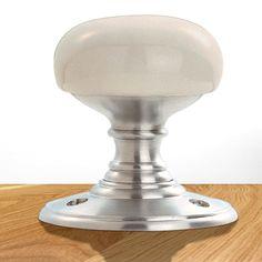 Delamain DK34PWSC Porcelain Mortice Knob Handles | Ball Type Handles. #elegantdoorknob #whiteandchromedoorknob #doorballhandle