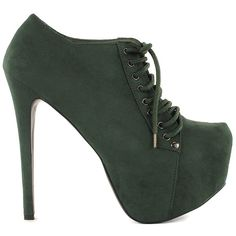 Sugarfree Shoes Cornelia (250 BRL) ❤ liked on Polyvore featuring shoes, boots, ankle booties, heels, sapatos, zapatos, dark green, party shoes, womens-fashion and lace up platform bootie