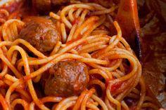 Spaghetti with meatballs all'amatriciana / Spaghetti with amatriciana meatballs