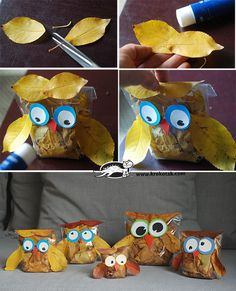LEAF OWLS Autumn Leaves Craft, Autumn Crafts, Fall Crafts For Kids, Autumn Art, Nature Crafts, Art For Kids, Leaf Crafts, Owl Crafts, Autumn Activities
