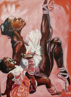 Mother and daughter ballerinas. Black Art Painting, Black Artwork, Black Love Art, Black Girl Art, Art Noir, Black Art Pictures, Afro Art, Black Artists, Arte Pop