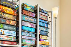 BoxThrone Board Games Shelves A unique and attractive way to store your board games. A unique board game storage solution! Board Game Organization, Storage Room Organization, Storage Ideas, Organization Ideas, Playroom Storage, Playroom Ideas, Toy Storage, Basement Ideas, Board Game Shelf