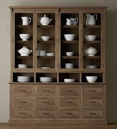 restoration hardware apothecary display cabinet - could i get away with this next to my white contemporary/modern-inspired kitchen? Cabinet Shelving, Wood Shelves, Tall Cabinet Storage, Rustic Shelving, Dining Cabinet, Open Shelving, Kitchen Hutch, Diy Kitchen, Kitchen Facelift