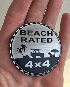 "TUFSKINZ | Jeep ""Rated"" Badge - Real Aluminum (Beach Rated). For product info go to:  https://www.caraccessoriesonlinemarket.com/tufskinz-jeep-rated-badge-real-aluminum-beach-rated/"