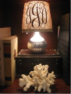 Monogrammed lamp shade lamps textiles and monograms monogram and burlap lamp shade the pelican girls are off to find burlap mozeypictures Image collections