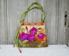 Unique felted bag with 3D  flowers with wooden by filcAlki on Etsy, $169.00