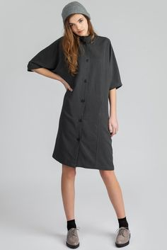 The Balance is a tencel / linen blend dolman sleeve dress with Mandarin collar. Made in Vancouver, Canada by eco-fashion label Pillar. Fashion Labels, Mandarin Collar, Button Up, Short Sleeve Dresses, Shirt Dress, Summer Dresses, Womens Fashion, Sleeves, Shirts