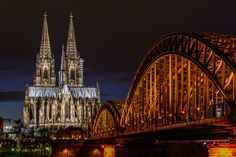 View of the Cologne Cathedral and Hohenzollern Bridge across the Rhine, Germany