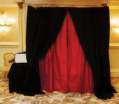 Red and Black Photo Booth Curtain Backdrop for Wedding