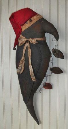 Primitive Grungy Big Santa Crow Door Greeter Doll w/ Garland of Christmas Lights #NaivePrimitive