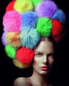Rainbow Bright Colors / karen cox. Colorful Pom Pom hair (HEAD PIECE)