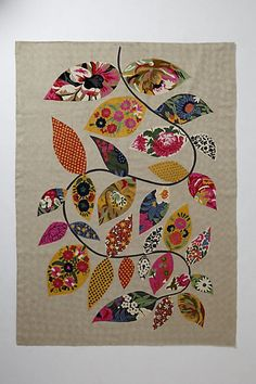 Embroidered Herati Vine Rug #anthropologie - make with canvas and fabric