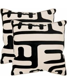 "Safavieh 2 Pack Abstract Throw Pillow - Black/White (22""x22"")"