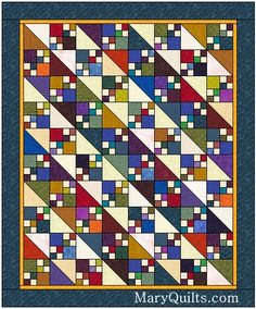 Michelle's Quilts & Stuff: When is a leader/ender a real project? just 4 patches and half squares love the colors leaders and enders scrappy quilt (Jacob's Ladder? Lap Quilts, Scrappy Quilts, Small Quilts, Mini Quilts, 4 Patch Quilt, Quilt Blocks, Embroidery Designs, Quilting Designs, Nine Patch