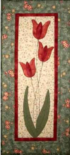Excellent mini quilt for Spring. Tulips Quilt Pattern by Castilleja Cotton - Diane McGregor. This might be an idea for how to use the long antique pieces I have--flower and leaves could be cut out of the antique pieces Hanging Quilts, Quilted Wall Hangings, Small Quilts, Mini Quilts, Quilting Projects, Quilting Designs, Mini Quilt Patterns, Flower Quilts, Miniature Quilts