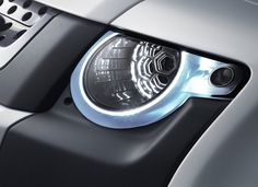 Head lights of a Land Rover