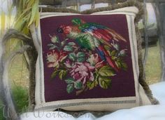 Pretty Parrot Salvaged Needlepoint