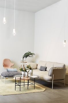 Styling by Solveig from @NiB with Cloud sofa and pouf by Luca Nichetto,Palette table and Catch Chair by Jaime Hayon, Barstool by Norm.Architects, True Colour Vases by Lex Pott, Marble Lights by Studio Vit and the Moor Rug by All the way to Paris.