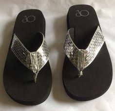 1ffb0b222207 NEW OP Flip-Flops Black Bottom with Silver Sequin Tops Women s Size 6 ( )  NWOT