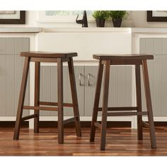 Salvador Saddle Back 29-inch Counter Height Stools by Inspire Q (Set of 2) (Walnut Brown) (Rubberwood)