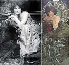 original photo and resulting illustration by Alphonse Mucha.