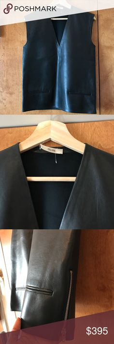 """Celine leather top Phoebe Philo Collection. Black Céline sleeveless leather top with V-neck, dual welt pockets at front and exposed zip closure at side. This top has only been worn once.  Bust: 36"""" Waist: 36"""" Length: 23.25"""" Estimated Retail: $1,239.00 Condition: Excellent. No visible signs of wear. Fabric: 100% Lamb Leather; Fabric 2 50% Polyamide, 40% Polyester, 10% Elastane Designer: Céline Celine Tops Blouses"""