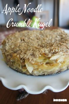 It's a kugel with a crumble topping filling with sweet apples and baked in the shape of a cake. Such a fun side dish for the Jewish New Year.