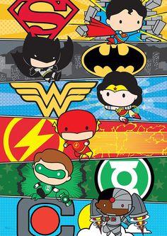 MightyPrint DC Comics Justice League (Chibi League) Wall Art Next Generation Premium Print Justice League Characters, Dc Comics Characters, Math Comics, Old Comics, Batman Comic Art, Batman Comics, Chibi, Batman Kunst, Univers Dc