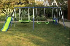 Metal Swing Set Playground Swingset Outdoor Play Slide Kids Backyard Playset Toy for sale online Small Swing Sets, Swing And Slide Set, Metal Swing Sets, Swing Sets For Kids, Kids Swing, Backyard Playset, Backyard Swings, Backyard Playground, Backyard For Kids