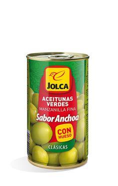 Manzanilla con hueso lata 370 ml sabor anchoa #aceitunasverdes #manzanilla #Jolca