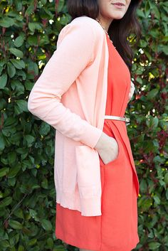 Tangerine dress with peach cardigan and gold belt // Kendi Everyday
