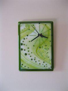 9.75 x 7.5 Fused Glass Clock Quartz Movement by RockinMosaics
