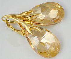 Vergoldete Ohrringe - Ohrringe Swarovski Kristall vergoldet Golden Shado - ein Designerstück von Andalucia_1 bei DaWanda
