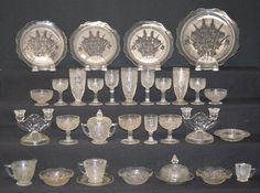 Buy online, view images and see past prices for 31 Pieces Iris & Herringbone Depression Glass Set: Clear glass with candle holders, plates, bowls, water glasses, wines and stemmed brandies.. Invaluable is the world's largest marketplace for art, antiques, and collectibles.