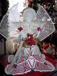 "15"" tall crocheted angel"