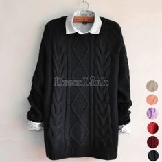 Women Pure Color Loose Long Sleeve Jumper Pullover Sweaters 85199530fd8