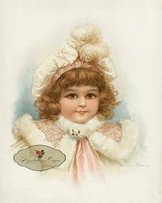 VINTAGE GIRL in PINK fur Coat and Hat by Frances Brundage -  Digital Download Printable 149-li