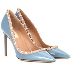 Valentino Valentino Garavani Rockstud Patent Leather Pumps (3.245 RON) ❤ liked on Polyvore featuring shoes, pumps, heels, blue, blue pumps, patent leather pumps, blue patent pumps, high heel shoes and high heel pumps
