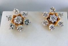 14 K ` Gold Diamond Ear Studs Earrings Pair Jewelry | eBay
