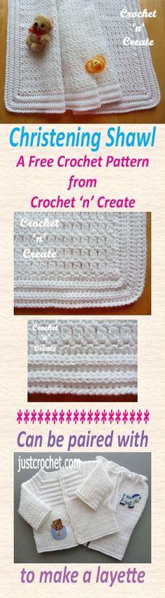 Free crochet pattern for baby christening shawl.