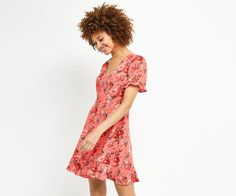 Oasis, UTILITY ROSE TEA DRESS Multi Red 1
