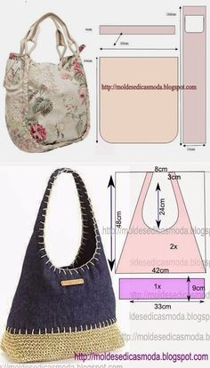 Las bolsas para un verano. Las bolsas para un verano. Handbag Patterns, Bag Patterns To Sew, Sewing Patterns, Tote Pattern, Denim Tote Bags, Hippie Bags, Patchwork Bags, Crazy Patchwork, Fabric Bags