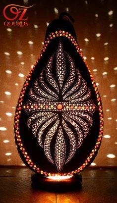 Gourd Lamp from Oz Gourds Zen Pictures, Decorative Gourds, Barn Wood Crafts, Gourd Lamp, Organic Art, Painted Gourds, Dot Art Painting, Light Art, Bottle Crafts