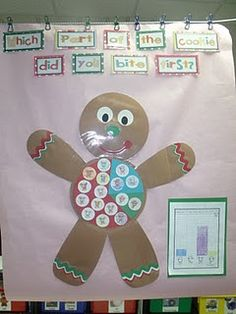 Gingerbread Fun Classroom activities for kindergarten with a free file. Christmas math, literacy, crafts, and more! Kindergarten holiday play ideas too!