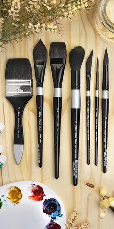 Black Velvet® watercolor brushes by Silver Brush Limited® Art Painting Tools, Paint Brush Art, Acrylic Paint Set, Paint Brushes, Art Studio Design, My Art Studio, Best Watercolor Brushes, Watercolor Art, Art Supplies Storage
